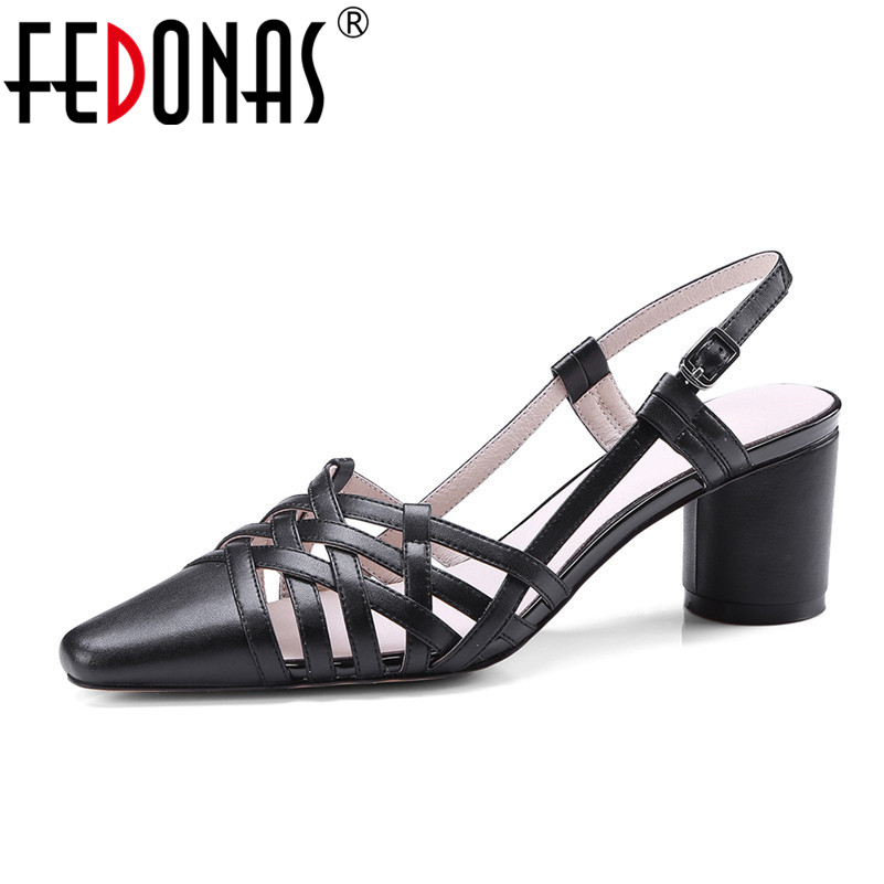 FEDONAS 2020 Summer New Elegant Brand Genuine Leather Sandals Sexy High Heeled Ankle Starp Party Shoes
