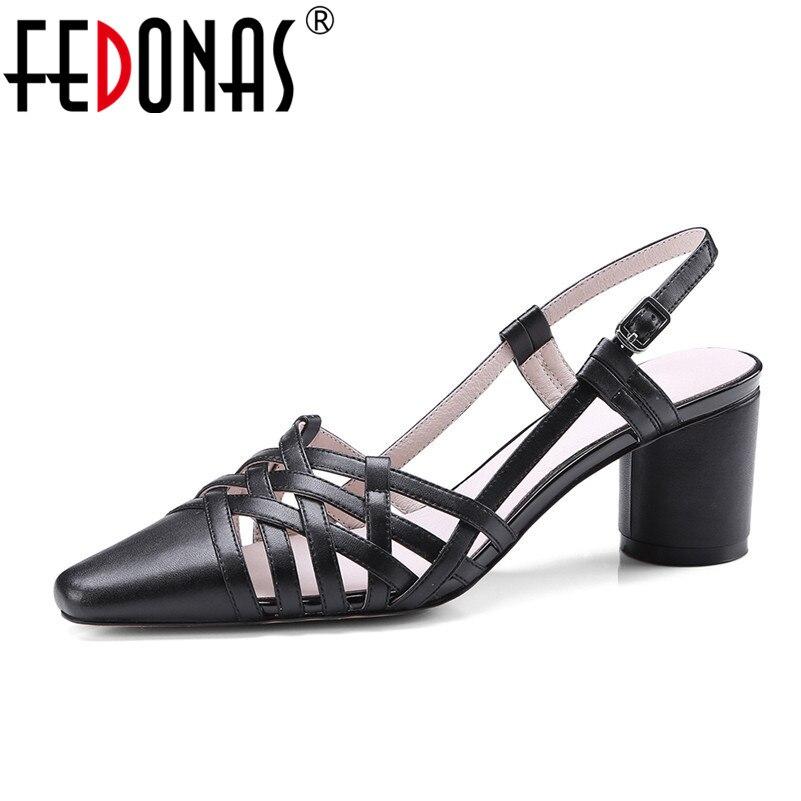 FEDONAS 2020 ฤดูร้อนใหม่แบรนด์ของแท้หนังรองเท้าแตะเซ็กซี่ส้นสูงข้อเท้าสายคล้องรองเท้าผู้หญิง Pointed Toe Sandal-ใน รองเท้าส้นสูง จาก รองเท้า บน AliExpress - 11.11_สิบเอ็ด สิบเอ็ดวันคนโสด 1