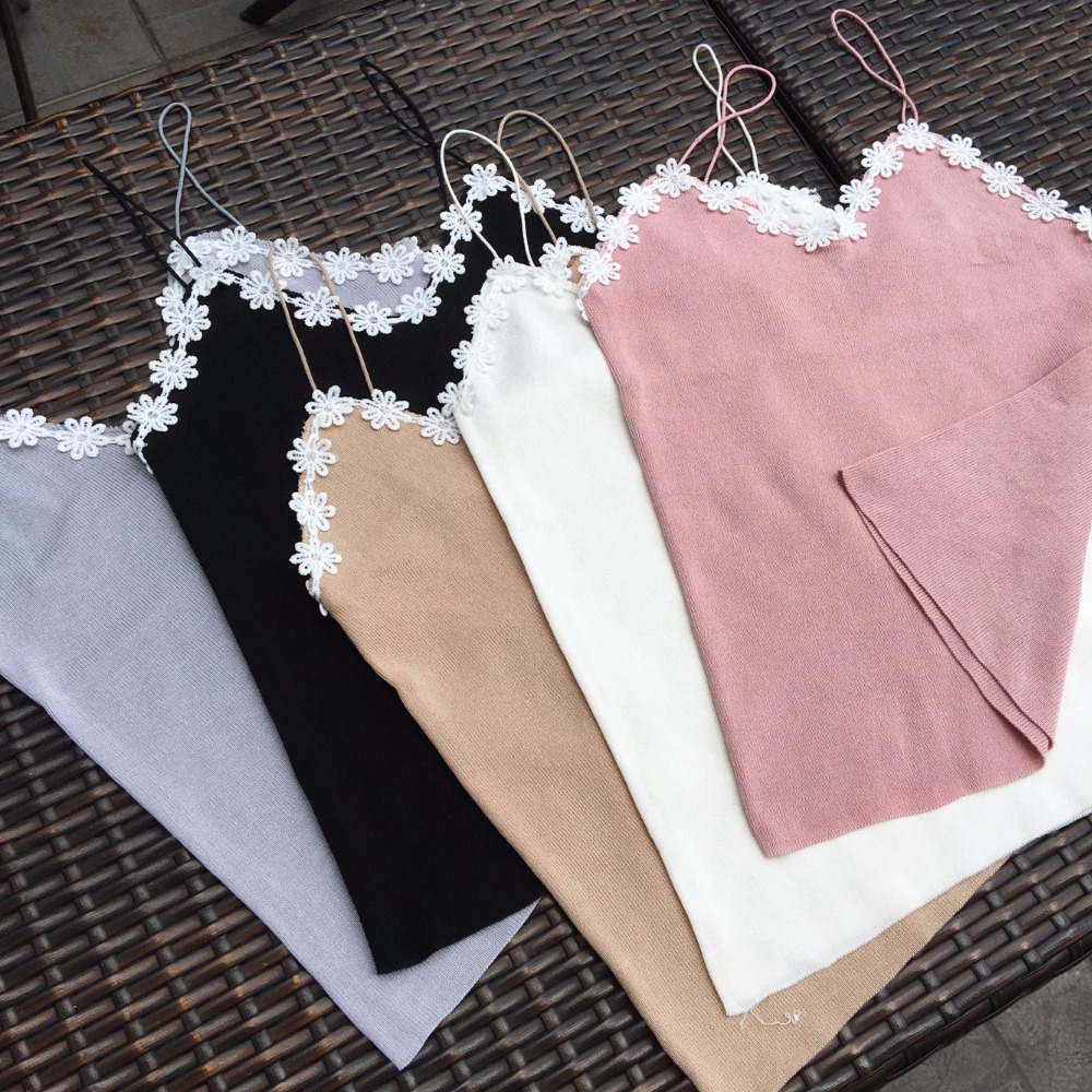 Summer Women Knitting Solid Camis Tops Sleeveless Tee shirts Girls Tank Tops Knitwear Patch Floral Lace Neck FL385