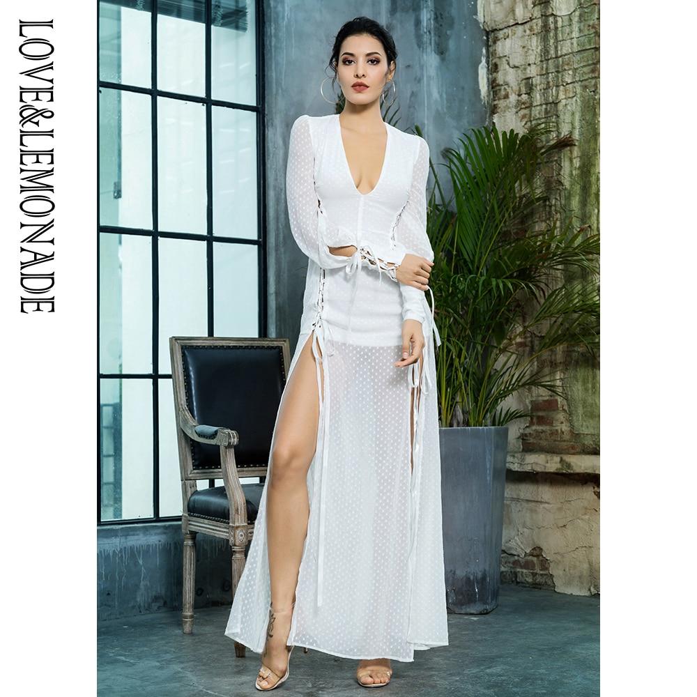 Love Lemonade Deep V Neck Decor White Jacquard Chiffon Long Dress LM81006 1