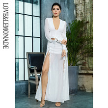 Love&Lemonade Deep V-Neck Decor White Jacquard Chiffon Long Dress LM81006-1(China)