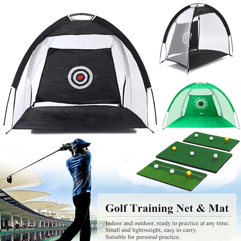 Foldable Golf Hitting Cage Training Aids Indoor Outdoor Sport Golf Cage Swing Trainer Pad Set Garden Grassland Golf Practice Net