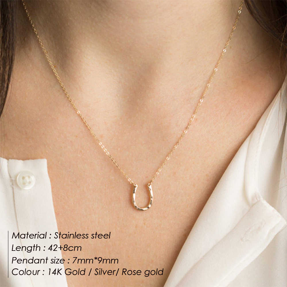 E マンコトレンディステンレス鋼のネックレスパンクチョーカーネックレス女性 2019 文の U 形のチャームネックレス