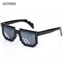ФОТО zxtree new fashion retro mosaic pixel sunglasses women men second element the world deal glasses party eyewear sun glasses z130