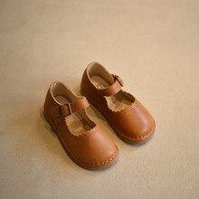 2017 frühling Herbst Mädchen Vintage Leder Schuhe Freizeit Baby Toddle Schuhe Weichen Kinder Leder Schuhe für Kinder Schuhe Einzel