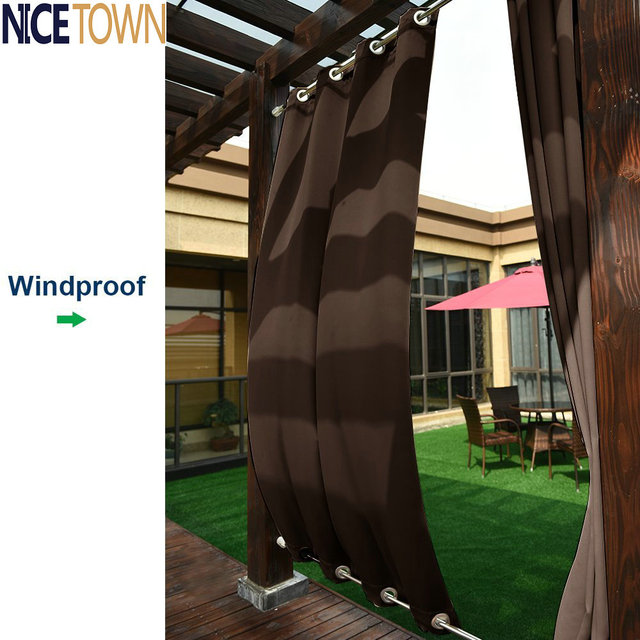 Patio Curtains Outdoor Drape Panels   Nicetown Easy Care Top And Bottom  Grommets Blackout Mildew Resistant
