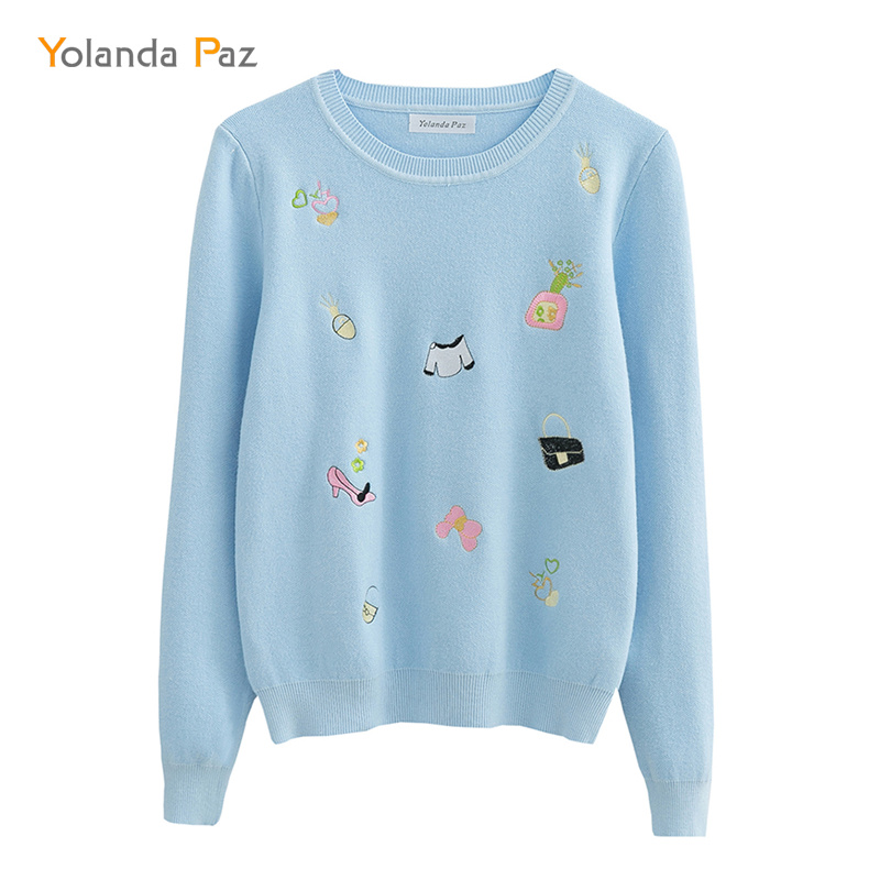 Yolanda Paz 2019 Newest Women casual sweater good quality o-neck long sleeve Cartoon pattern autumn winter woman pullover thumbnail