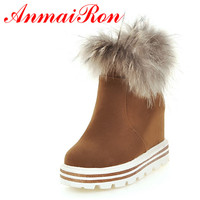 ANMAIRON Winter Warm Ankle Boots Women Charm Snow Boots Slip On Big Size 34 43 Winter