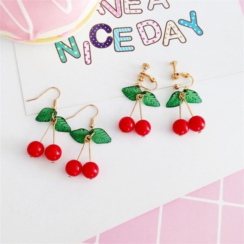 Kawaii Japanese Red Cherry Drop Earrings