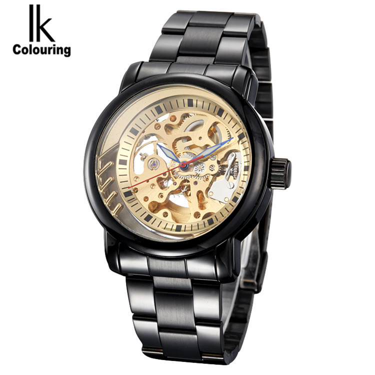 New 2017 IK Colouring Fashion Mechanical Skeleton Watch Auto Stainless Steel Men's Watches Wristwatch Free Ship 2017 ik colouring fashion relogio masculino skeleton auto mechanical watch wristwatch gift free ship