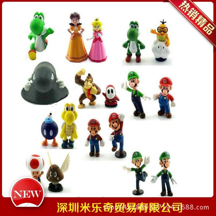 18 figurines de bureau pcspvc 5 cm Mario Super Mario modèle de jouets de bureau pour noël et cadeau d'anniversaire pour enfants