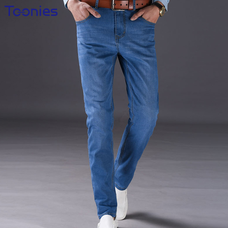 2017 New Autumn Pantalon Jean Homme Casual Business Stretch Jeans Men Mid Waist Thin Denim Trousers Washing Jeans Pants Male 2017 autumn new fashion pencil mens skinny jeans trousers stretch jean homme mid waist denim pants men casual jeans hommes
