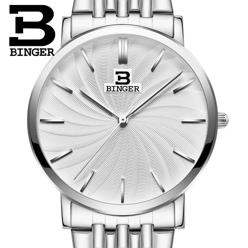 Switzerland BINGER men's watch luxury brand quartz leather strap ultrathin Wristwatches Waterproof clock B3051M switzerland binger relogio masculino luxury brand quartz leather strap ultrathin wristwatches waterproof clock b3051m 6