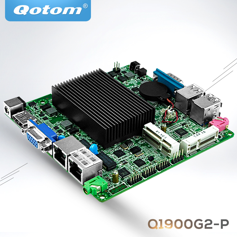 QOTOM Mini ITX Motherboard with celeron j1900 processor onboard, quad core 2 GHz, up to 2.42 GHz, dual lan motherboard DC 12V m945m2 945gm 479 motherboard 4com serial board cm1 2 g mini itx industrial motherboard 100