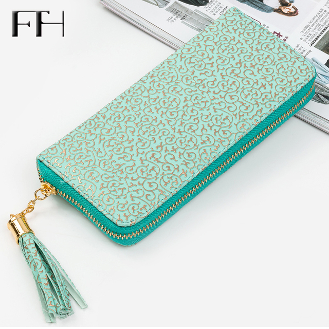 Retro Women leather wristlet long Wallet Clutch gilding pattern female phone purse lady cash coin Purse Card holder femme Bolsos