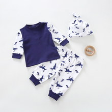 Baby clothes 3pcs baby long sleeves t-shirt 100 cotton baby pants and hat kids clothes for baby clothing jersey set clothes cheap Bloom Baby Genuine Leather Fashion REGULAR O-Neck Unisex Fits true to size take your normal size Sets Pullover Combed Cotton