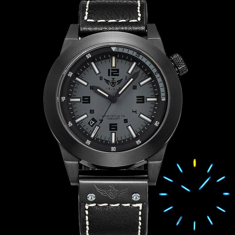 где купить  YELANG V1009 H3 self luminous mens 316L steel strap sapphire mirror waterproof outdoor sport quartz watch military wristwatch  по лучшей цене