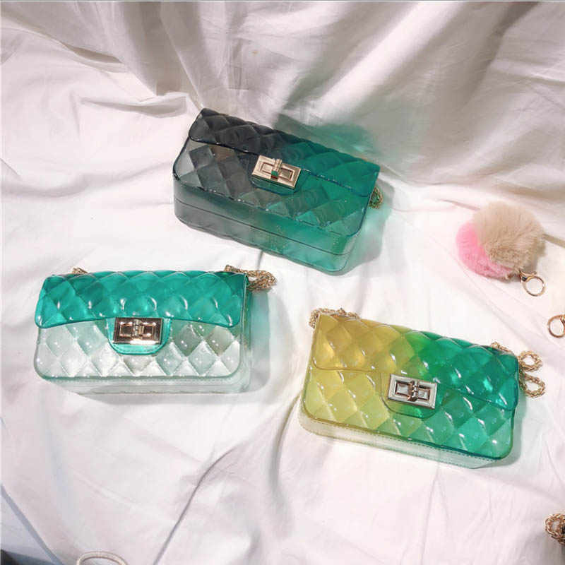 Cathylin 女性ゼリーメッセンジャーバッグ Pvc 透明なミニチェーン格子グリッターモザイクスパンコールショルダーバッグ Girlsl KSLW-15