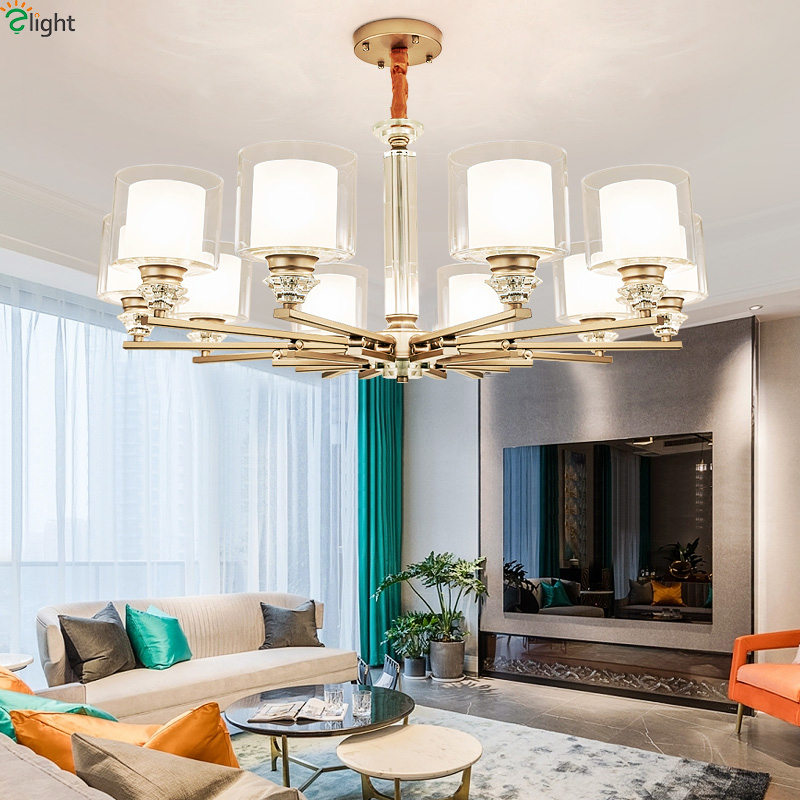 Modern Plated Metal Led Chandeliers Lighting Crystal Living Room Led Pendant Chandelier Lights Dining Room Hanging Lamp Fixtures