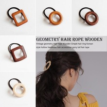 concise style Rubber Band Geometry Wooden Hair Rope Women Hair Accessories for Women Elastic Band Round Square Ponytail Holder цены