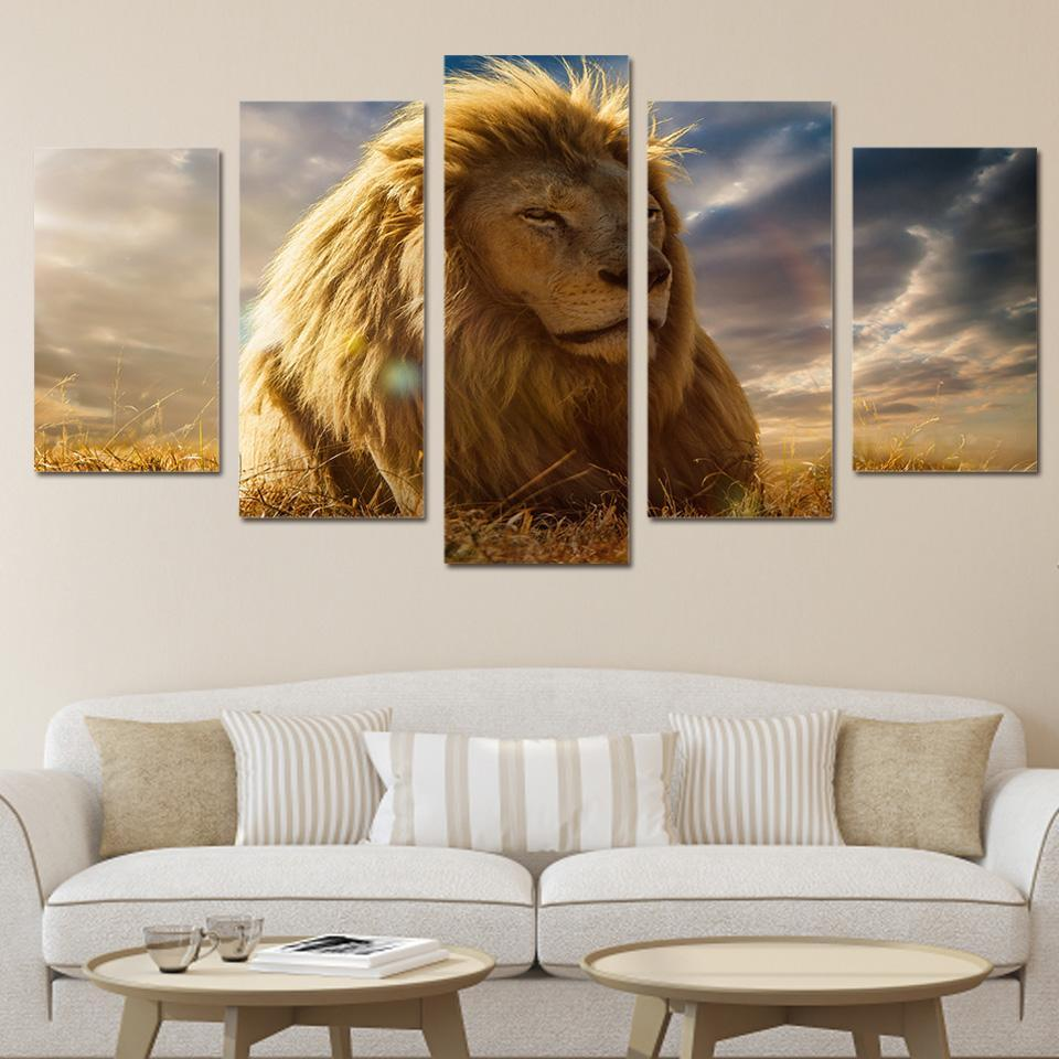 Kings Home Decor: 5 Panel Wall Art Canvas Paintings For Living Room Home