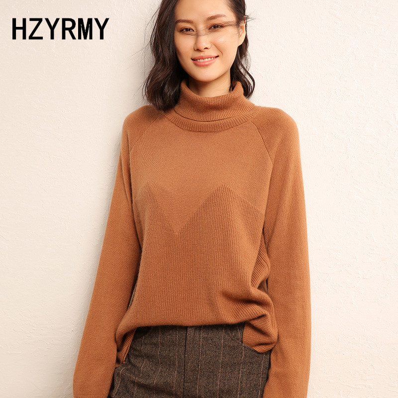 HZYRMY Autumn Winter New Women's Pure Cashmere Sweater Fashion Large size High-Neck Pullover Bottoming Shirt Wild Female Sweater