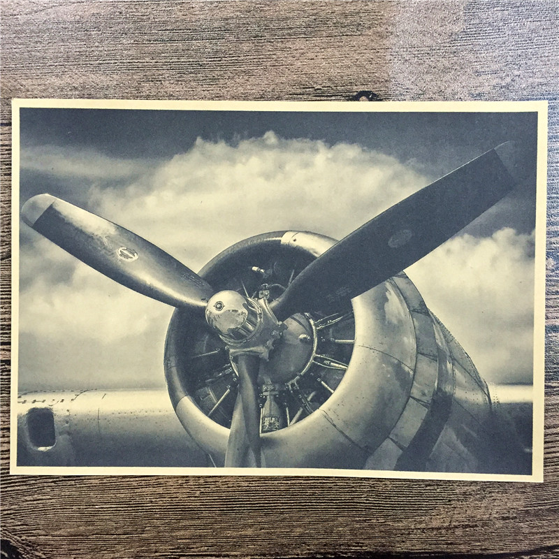 Direct selling FJ-263 vintage kraft paperPropeller aircraft home decor wall art craft sticker painting for kids rooms 42x30cm