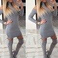 2017 de la moda de primavera otoño ladies géneros de punto del suéter frío hombro a rayas de cuello alto túnica sexy vendaje delgado dress para las mujeres 00206