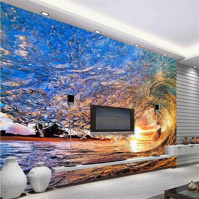 wall wallpaper 3d wall art background photography Art blue sea waves ...