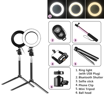 capsaver 8 inches Mini LED Ring Light Portable Circular Lamp 64 LED 3200K/5500K CRI90 USB Video Light for YouTube Photo Shooting