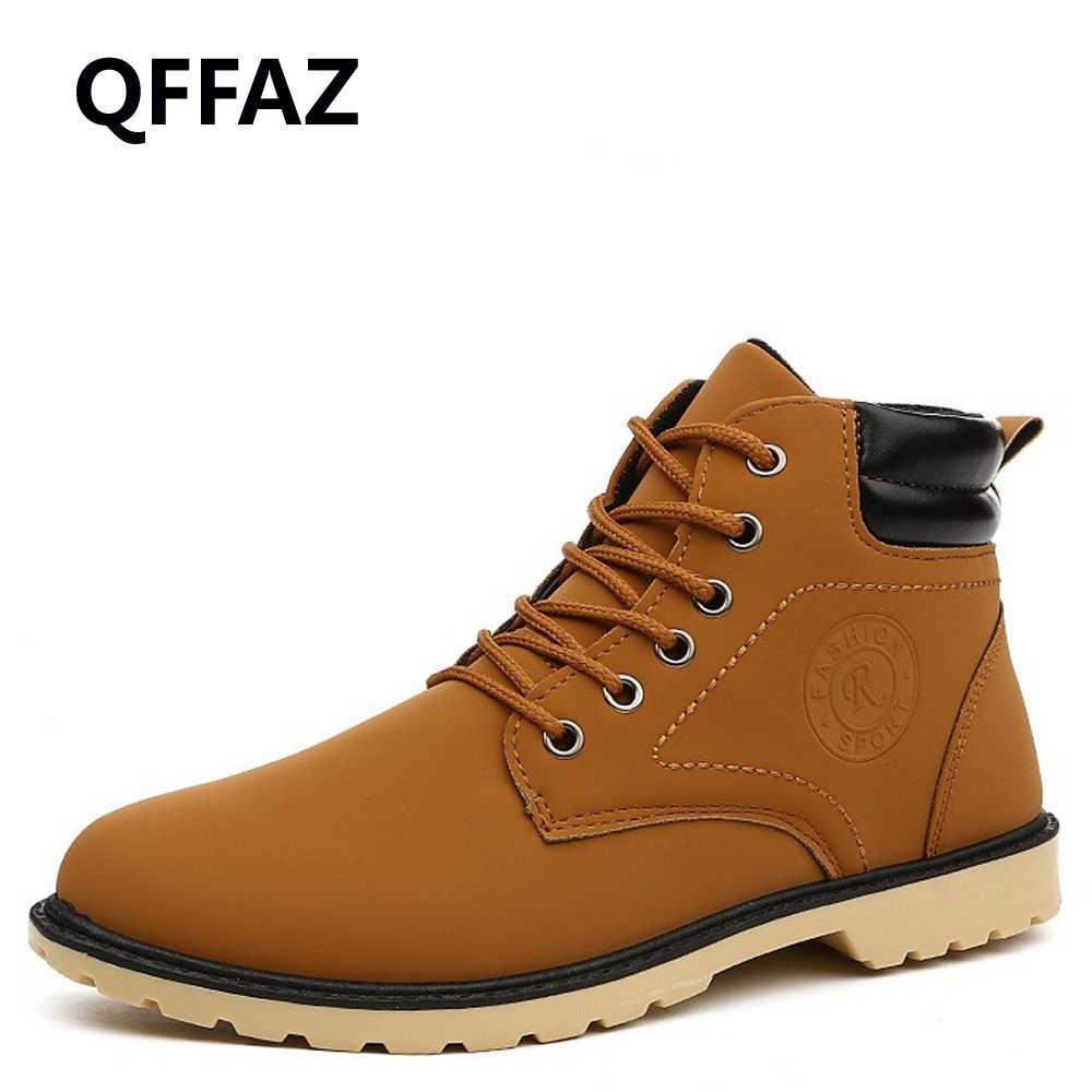 QFFAZ теплая осенне-зимняя кожаная Рабочая обувь мужские модные ботинки  мужские непромокаемые ботинки мужские Брендовые c80b02b60bd
