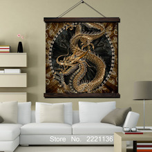Golden Chinese Dragon Print Scroll Painting Hanging Wall Art Decoration