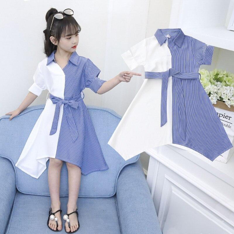 Robe dété de princesse à col rabattu Vertical, à rayures bleues et blanches, robe t-shirt pour filles 4 5 6 7 8 9 10 11 12 13 14 ans