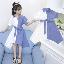 Summer Kids Dresses for Girls Princess Turn Down Collar Vertical Blue White Striped Tee Shirt Dress 4 5 6 7 8 9 10 11 12 13 14 Y kids striped tee