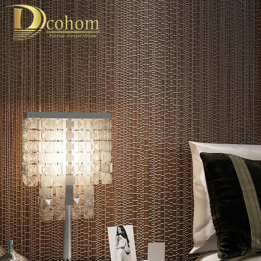 Modern luxury beige blue brown textured plaid wallpaper for Brown wallpaper for walls
