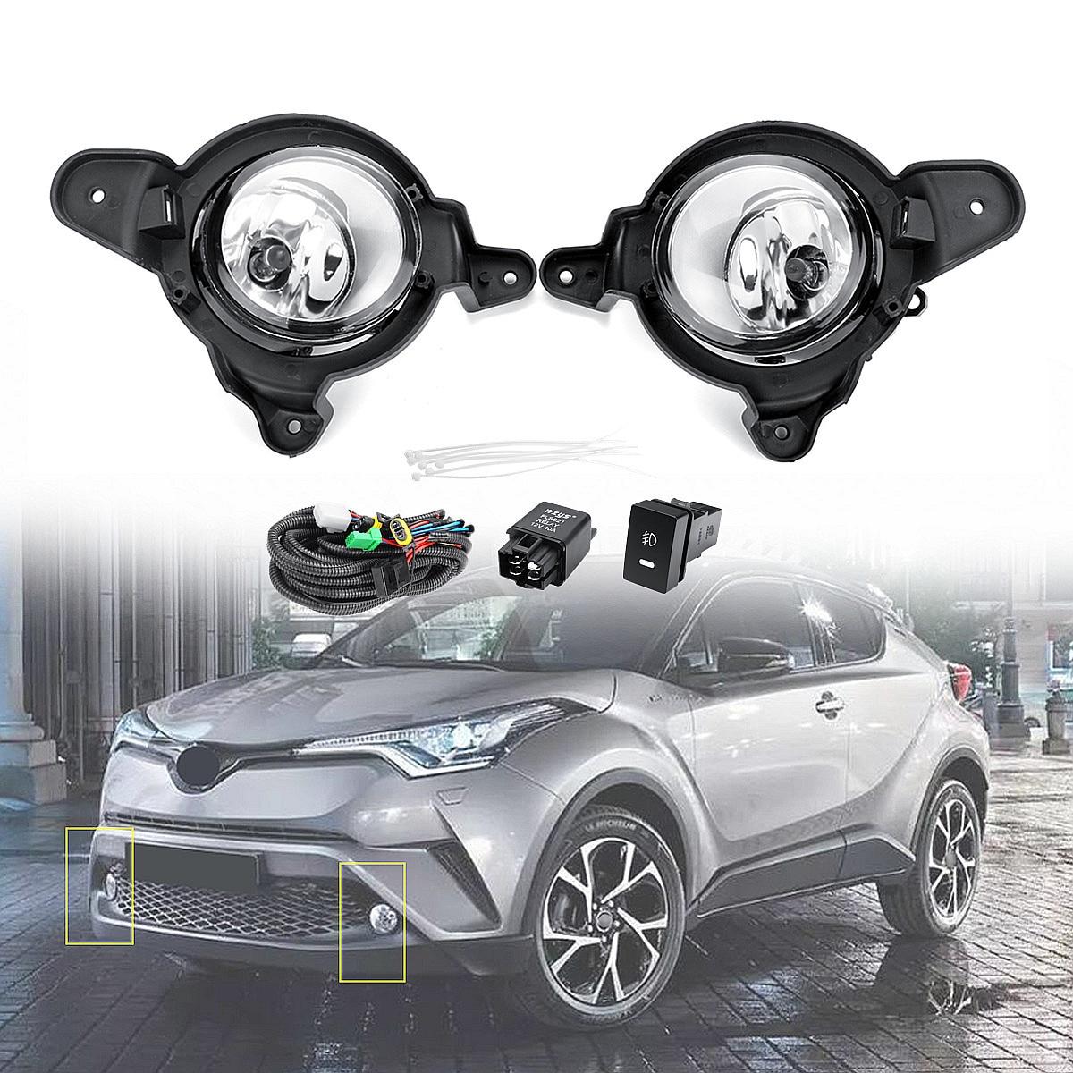 Pour Toyota C-HR CHR 2016-2018 Pare-chocs Avant Lumière Brouillard Lampe Avec Fils de L'interrupteur DC 12 v 55 w 100% Étanche H11 Halogène 9x11x12 cm