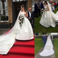 Ball Gown Straight Neckline Wedding Dresses Cathedral / Royal Train Organza Made-To-Measure with Cascading Ruffle Bride Gowns