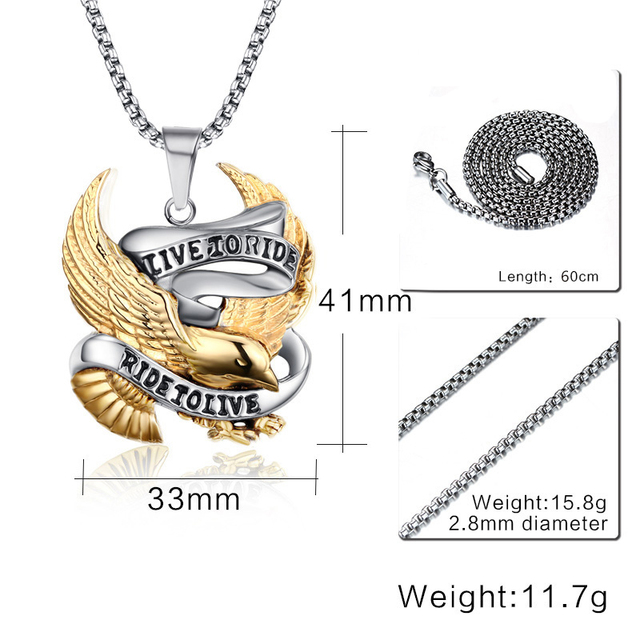 LIVE TO RIDE Eagle Necklace / Pendants  Gold plated and stainless steel