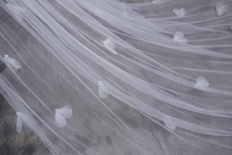 Hinter lange blume sin blütenblätter hochzeit schleier 3 u-bahnen elfenbein elegante hochzeit mesh schleier für hochzeitskleid WAS10010