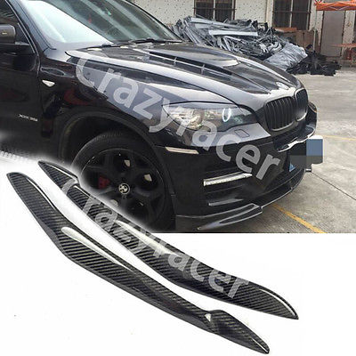 Front Headlight Cover Eyelid Eyebrow For BMW E71 X6 07-13 Carbon Fiber carbon fiber front headlight cover eyelid eyebrow for subaru impreza 9th 05 06