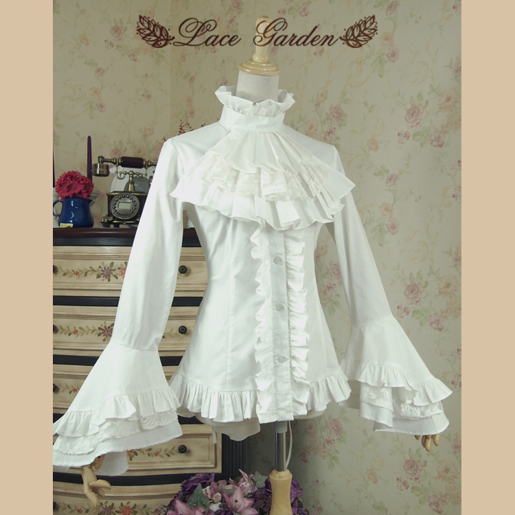 Vintage White Black High Low Blouse Long Flare Sleeve Ruffled Gothic Victorian Shirt for Women by