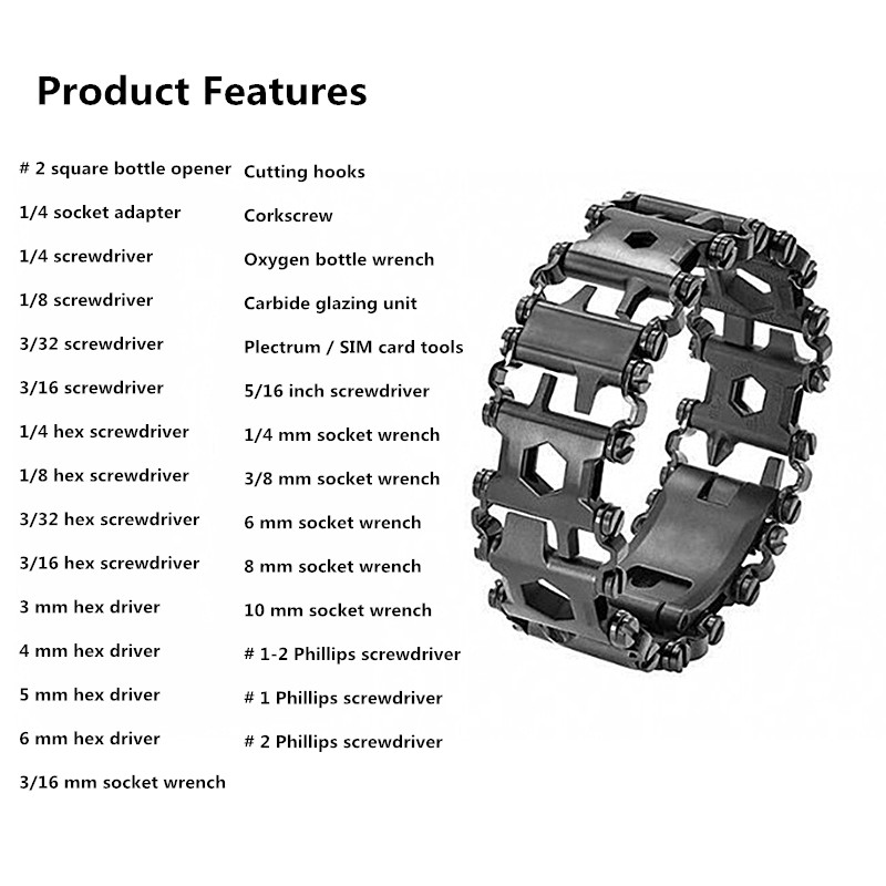 29 kinds of functions in one camping Multi-function tool EDC Outdoor bracelet Stainless steel bracelet buckle tool screwdriver 6 kinds of functions windproof hoods masked cap black