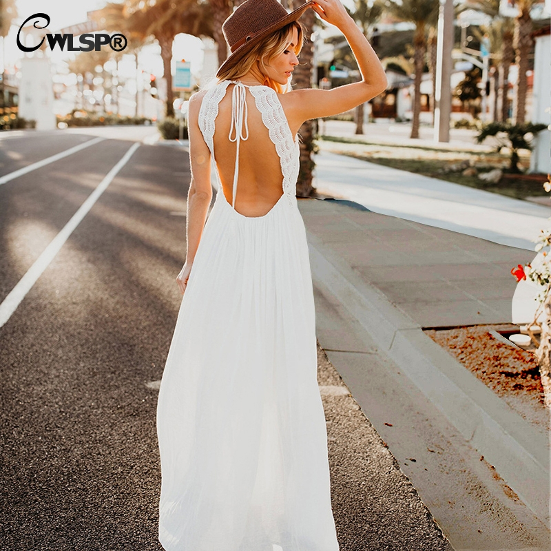 CWLSP <font><b>Sexy</b></font> V neck Halter Backless <font><b>Women</b></font> White Lace <font><b>Dresses</b></font> Hollow out Elegant Maxi linen <font><b>dress</b></font> Party <font><b>Summer</b></font> Long vestido <font><b>2018</b></font> image