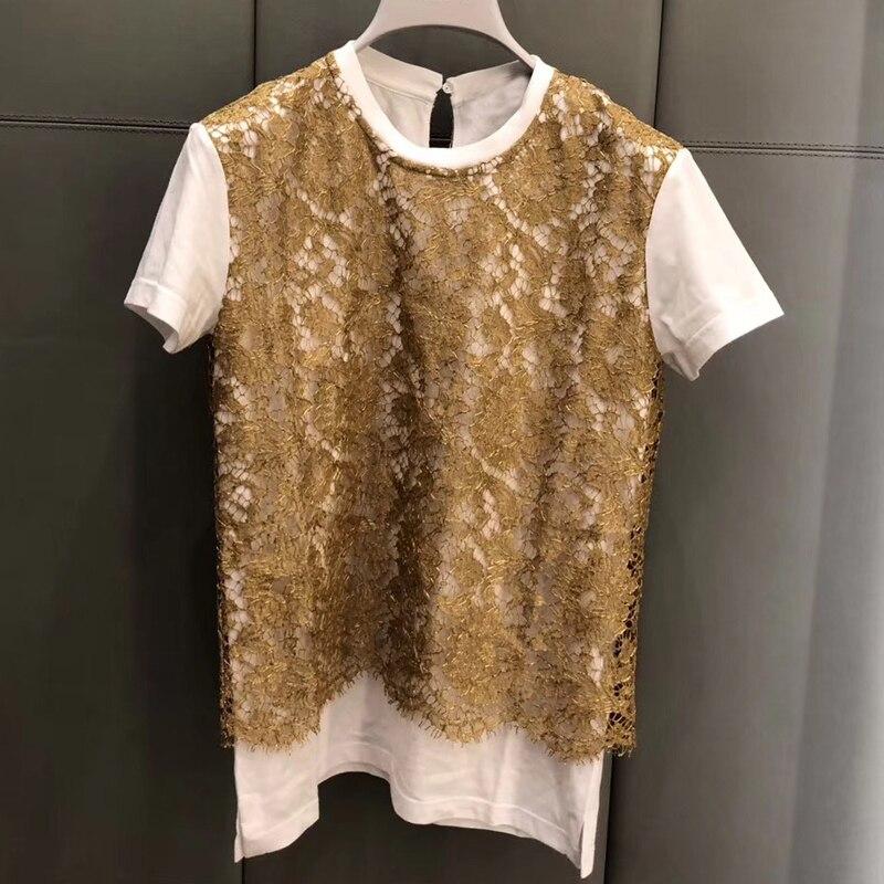 shirt Gedruckt Mode Frauen Tops Oansatz Qualität 2019 Hohe Weißen Büro Dame Baumwolle T HwEqEAO