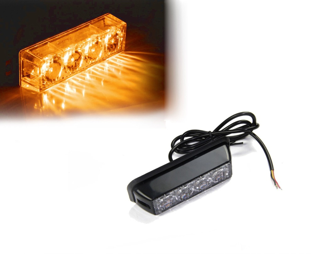 4 LED 4W Emergency Security Vehicle Grill Side Marker Flash Strobe Light Amber