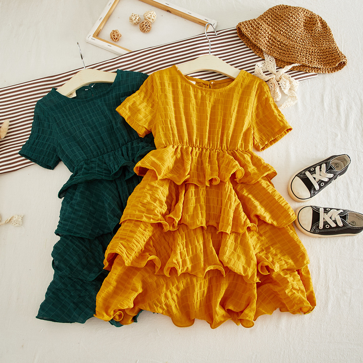 Vintage Girls Princess Dress Party Dress Layers Children Dress Fashion Girls Clothing