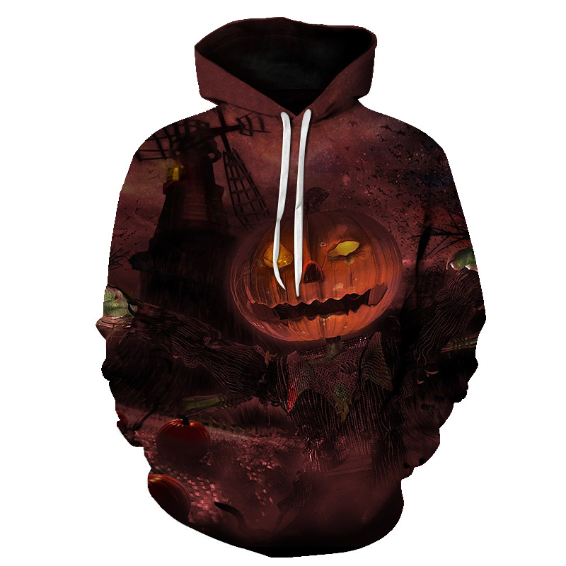 2018 New Fashion 3D Print Halloween Men Women Hooded Sweatshirt Pullovers Big Mouth High Quality Loose Large Size Hip Hop Male