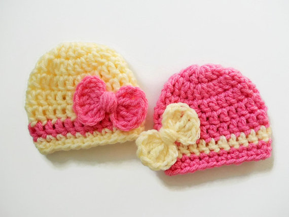 Newborn Girl Hat - Baby Girl Beanie - Bow Pink Hat - Baby Girl Photography Prop - Crochet Knit Infant Photo Prop