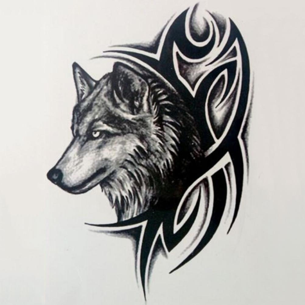 HOT Wolf Temporary Tattoo Sticker Men Women Black Animal Waterproof Tattoo Multi Styles Water Transfer Fake Tattoo(China)