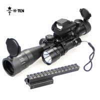 HTEN 3 9X40EG Tactical Optics Scope with Multi function Flashlight and 1X22 Red Green Dot Sight Scope Target Shooting Scope